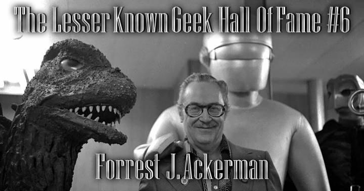 Forrest J Ackerman with Godzilla and Gort costumes